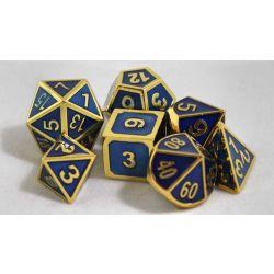 Metal blåa med guld kant, 7 tärningar
