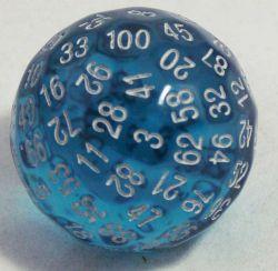 Blå genomskinlig 100 sidig tärning