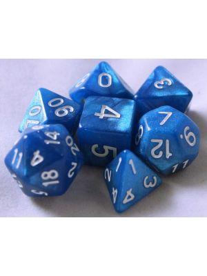 Blå melerade, 7 tärningar, vita siffror