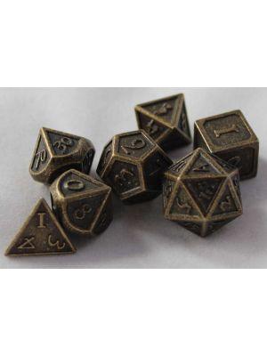 Metall Antik Guld med kant, 7 tärningar