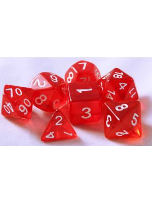 Röd genomskinlig, 7 tärningar, vita siffror