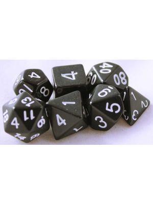 Svart, 7 tärningar, vita siffror