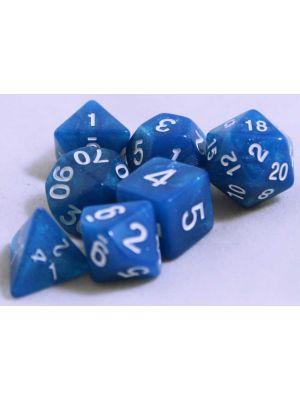 Blå glitter melerade, 7 tärningar, vit text