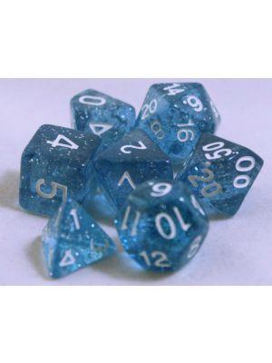 Blå glitter, 7 tärningar, vit text