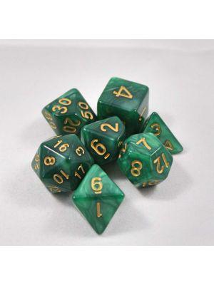 Grön melerade, 7 tärningar, guld siffror