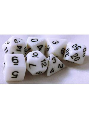 Vita, 7 tärningar, svarta siffror