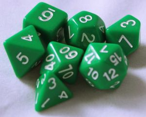 Grön, 7 tärningar, vita siffror