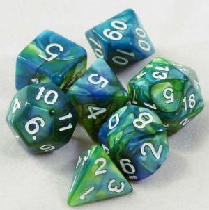Grön / blå melerad, 7 tärningar