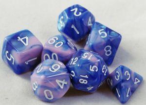 Blå / lila melerad, 7 tärningar