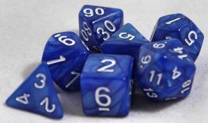 Mörkblå melerade, 7 tärningar, vita siffror