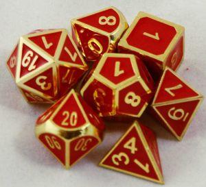 Metal röd med guld kant, 7 tärningar