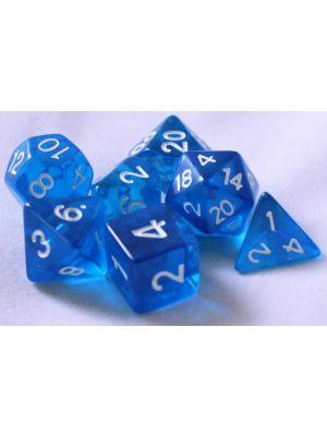 Blå genomskinliga, 7 tärningar
