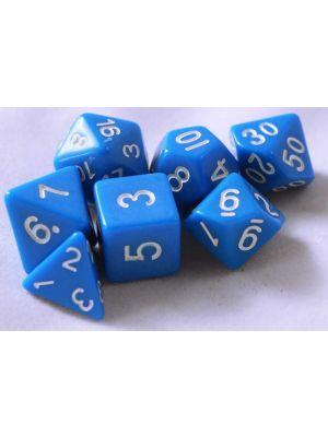 Blå, 7 tärningar, vita siffror