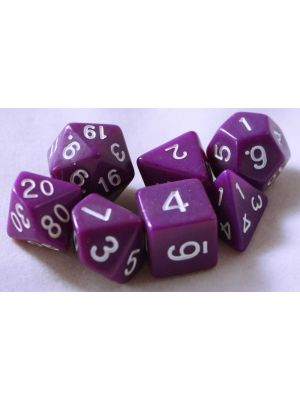 Lila, 7 tärningar, vita siffror