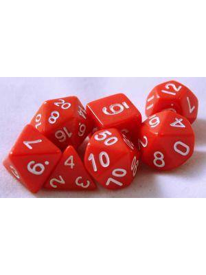 Röd, 7 tärningar, vita siffror