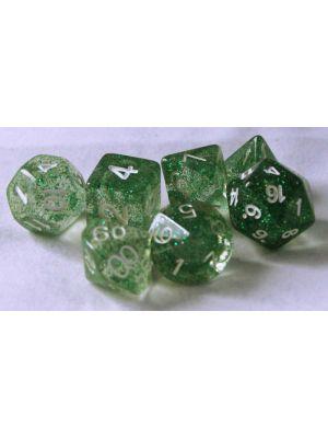 Grön genomskinlig glitter 7 tärningar