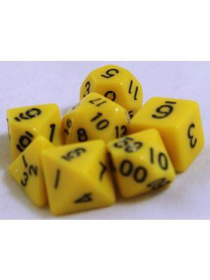 Gul, 7 tärningar, svarta siffror
