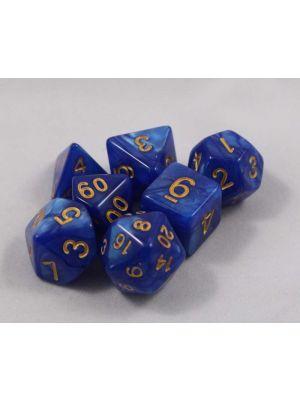 Blå melerade, 7 tärningar, guld siffror
