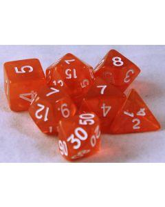 Orange genomskinliga 7 tärningar