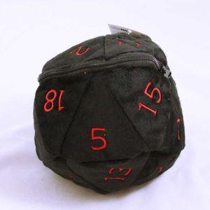 D20 Plush dice bag - svart