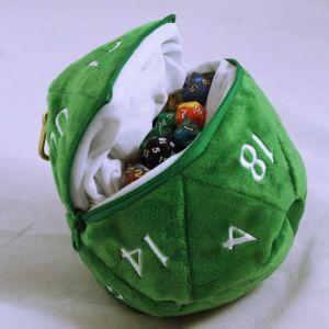 D20 Plush dice bag - grön