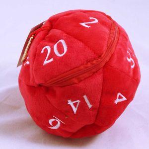 D20 Plush dice bag - röd