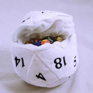 D20 Plush dice bag - vit