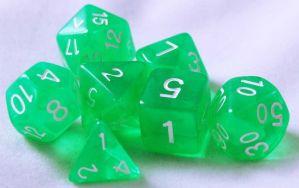 Grön genomskinlig, 7 tärningar