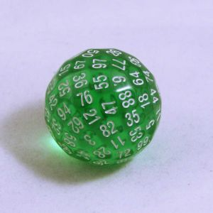Grön genomskinlig 100 sidig tärning