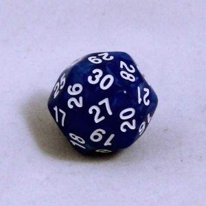 Blå melerad 30 sidig tärning