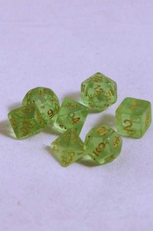 Ljus grön genomskinlig glitter, 7 tärningar