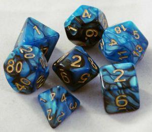 Blå / svart melerade, 7 tärningar