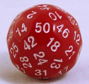 Röd 50 sidig tärning