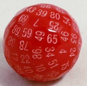 Röd 100 sidig tärning