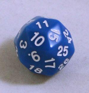 Blå 30 sidig tärning