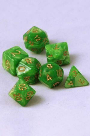 Ljusgrön melerade, 7st tärningar, guld siffror