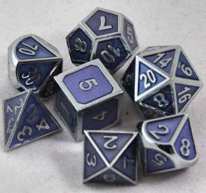 Metal mörklila med silverkant, 7 tärningar