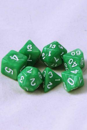 Ljusgrön melerande, 7st tärningar, vita siffror