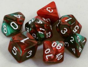 Grön / röd melerad, 7 tärningar