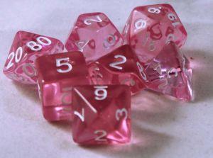 Rosa genomskinlig 7 tärningar