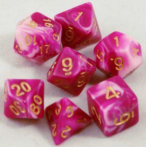Rosa / Vit melerad, 7 tärningar
