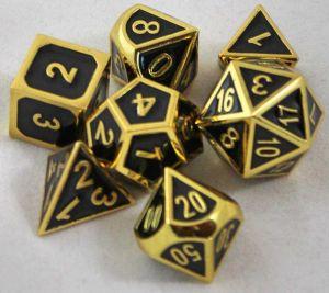 Metall svarta med guldkant, 7 tärningar