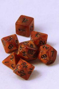 Brun melerade, 7 tärningar, svarta siffror